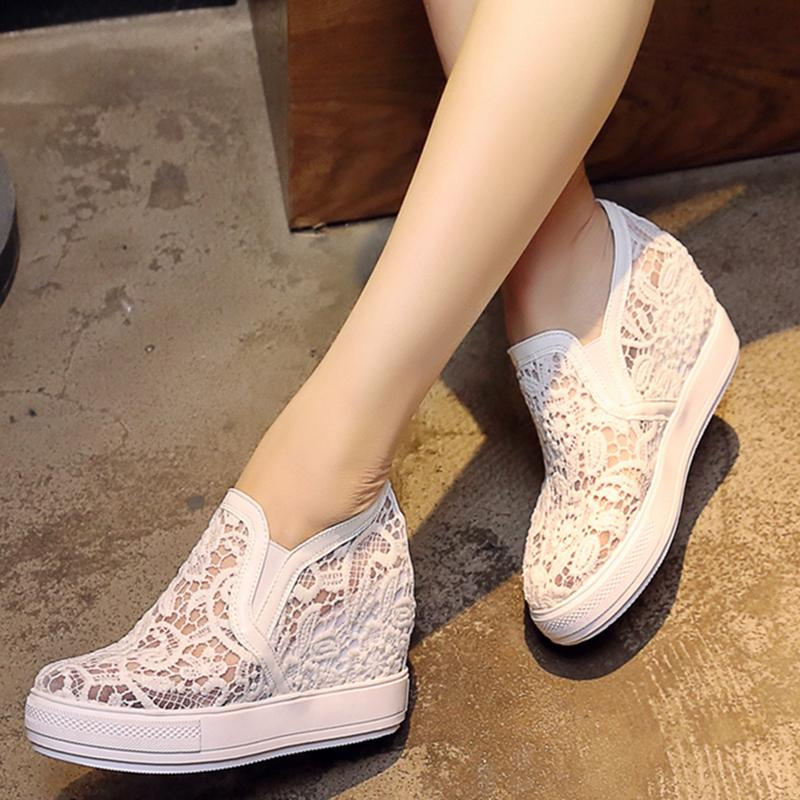 Fashion Brethable Lace Pink White Sneaker Summer Sneakers For Women Casual Shoes Hidden Heel Wedge Platform Vulcanize Shoe Woman CY200519