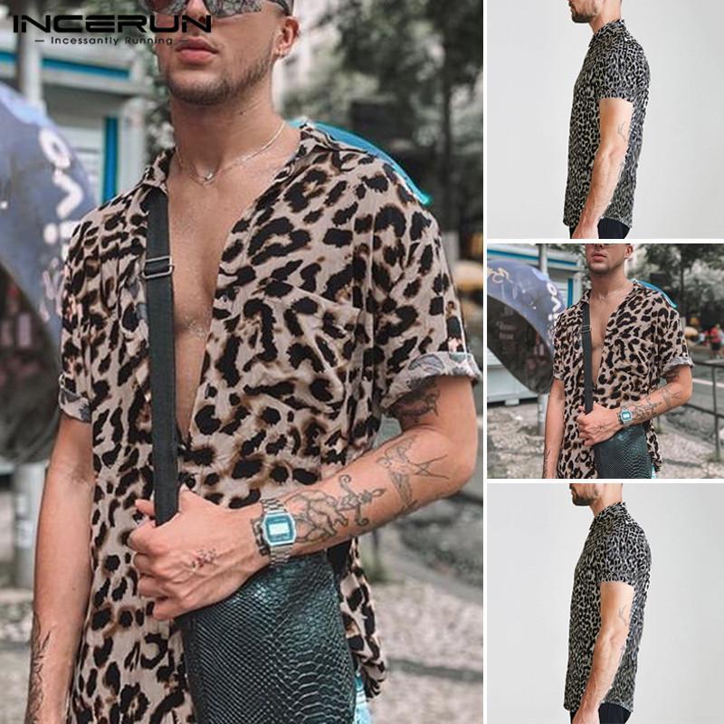 Мужские повседневные рубашки мужчины с коротким рукавом отворот рубашка цветочная блузка Гавайский пляжные топы летние леопардовые печать Camisa Incerun Plus размер