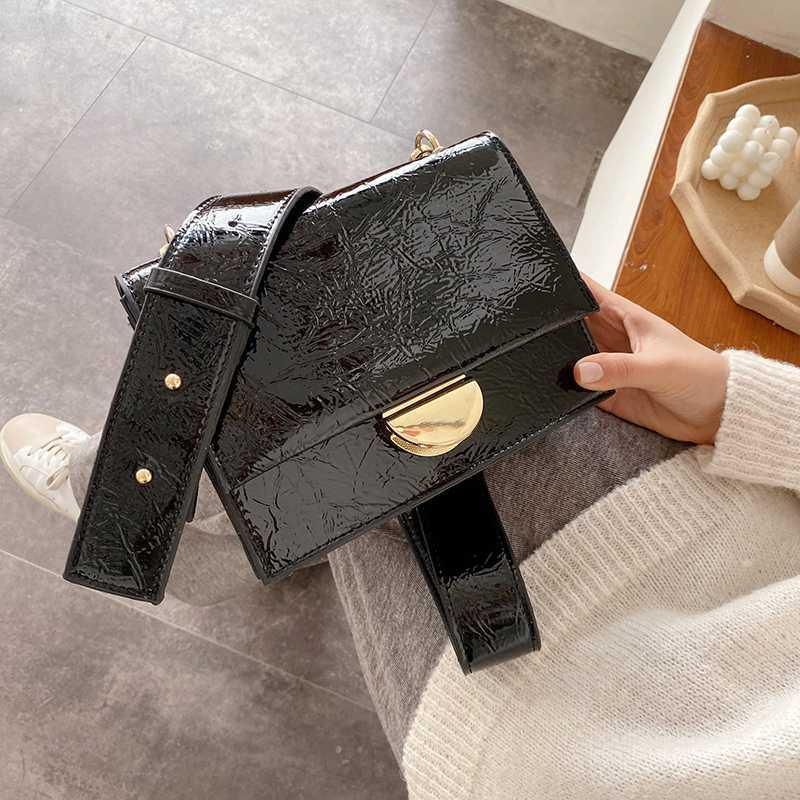 Bright Leather Shoulder Bag For Women 2020 Single Shoulder Crossbody Bag Female Vintage Messenger Trendy Flap Purse