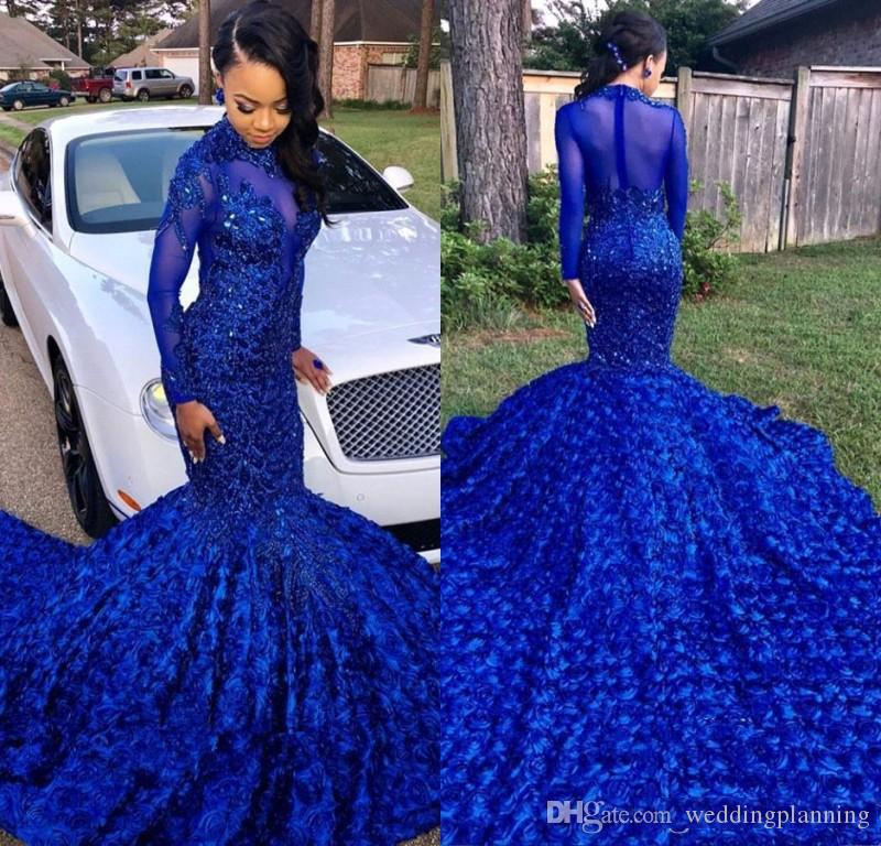 Luxuriously Long Tail Royal Blue 2019 Black Girls Mermaid Prom Dresses High Neck Long Sleeves Beaded Handmade Flowers Evening Party Gowns