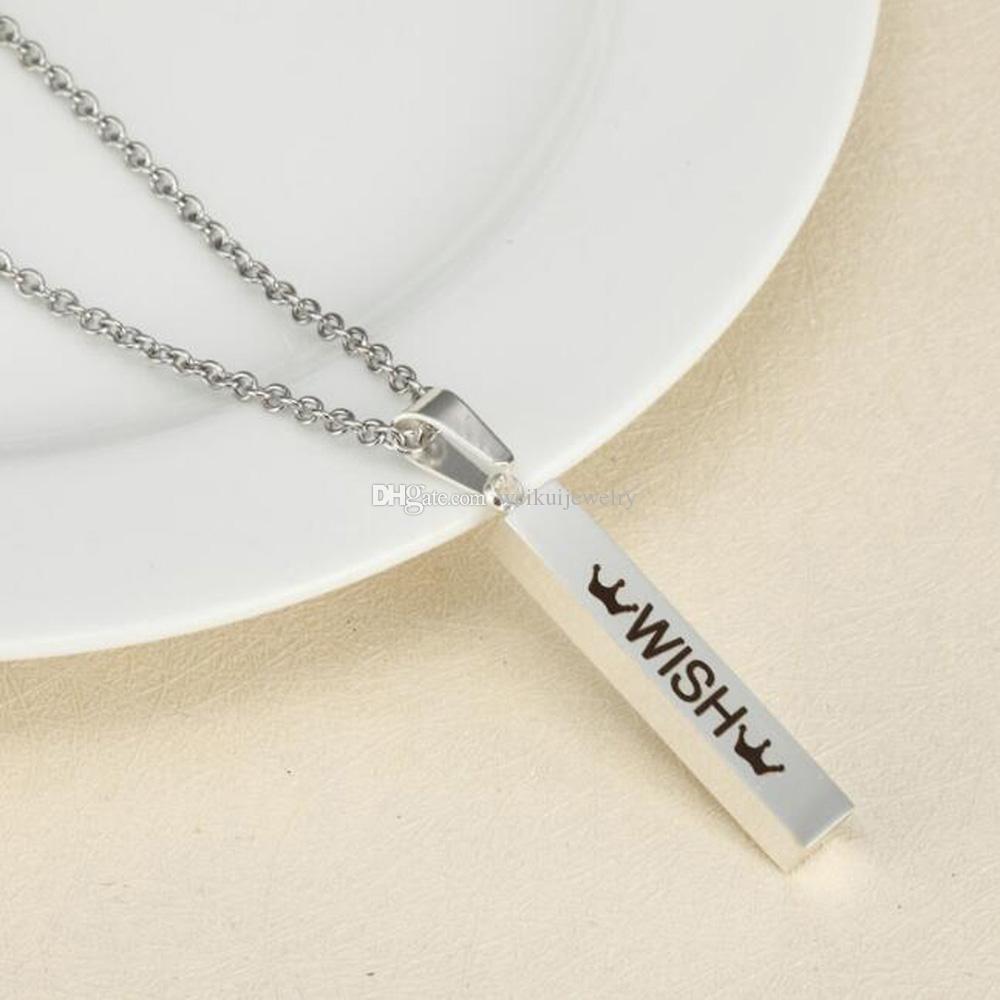 Moda de Acero Inoxidable Corona de Plata Colgante Grabable Estéreo Stick Colgante Collar para Adolescentes Mujeres Collar Joyería