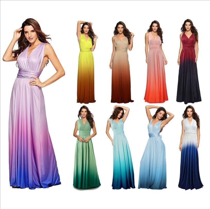 Prom Womens Elagant Party Maxi Langes Kleid Frauen Multiway Wickelkleider Gradient Cabrio Boho Verbandkleid Brautjungfern Robe Verbandkleid