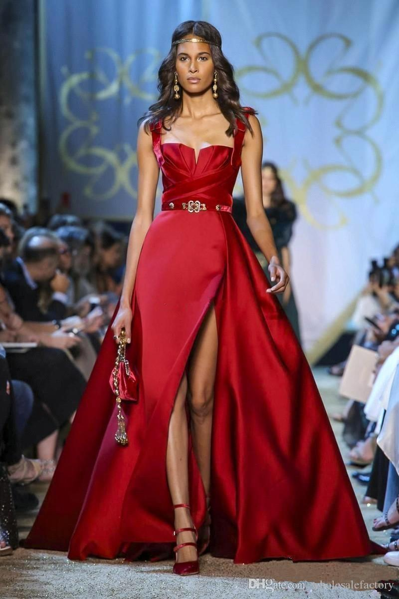 Elie Saab Red Satin A linha de vestidos de noite 2020 Spaghetti Ruched alta Dividir Sweep Trem Formal BC2678 Partido Prom Vestidos