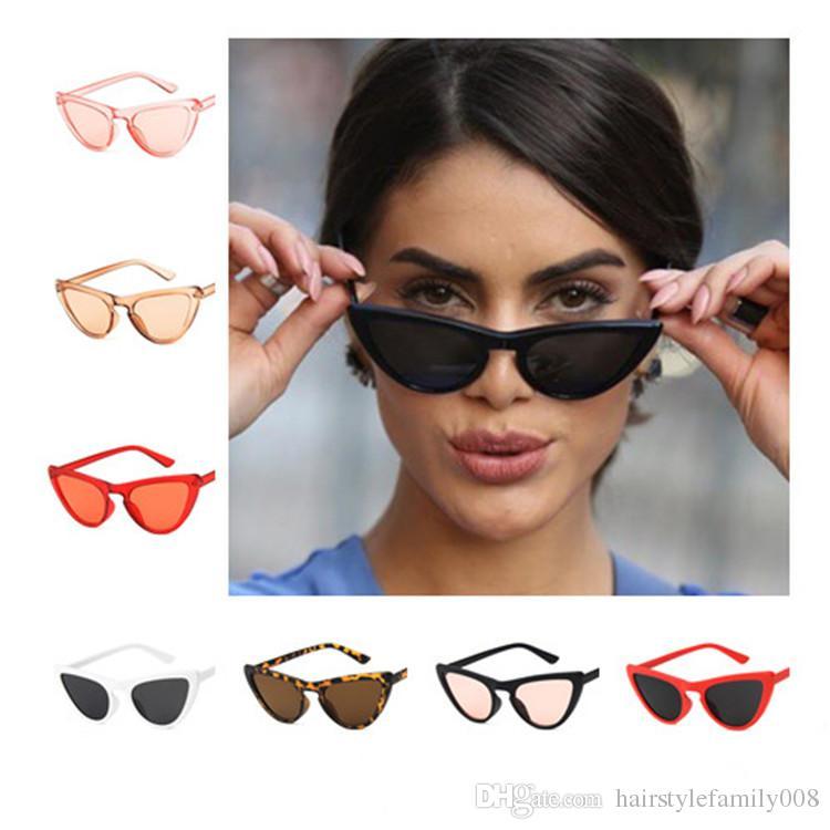 Moda Kadın Erkek Retro Güneş Üçgen Kedi Göz Güneş Gözlükleri Karşıtı UV Gözlük Gözlükler Gözlüğü Adumbral Gölge Ayna A ++