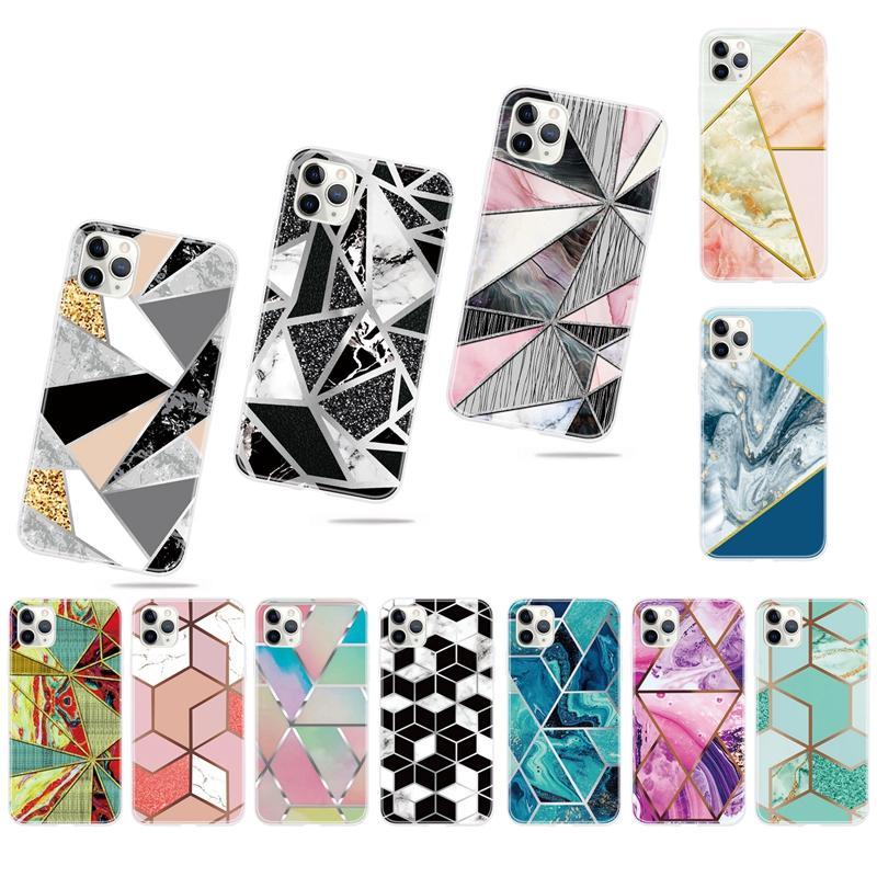 Marble Geometry Soft TPU Case For Xiaomi 10 Pro CC9 CC9E Redmi 8A 7A Note 8 7 6 K20 S2 Hybrid Rock Granite Contrast Color Ocean Phone Covers