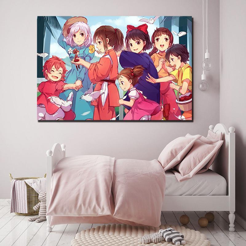 2020 Chihiro Miyazaki Canvas Spirited Away Painting Baby Nursery Wall Art Poster Print Nordic Kids Decoration Picture Kids Room Decor From Iwallart 6 16 Dhgate Com