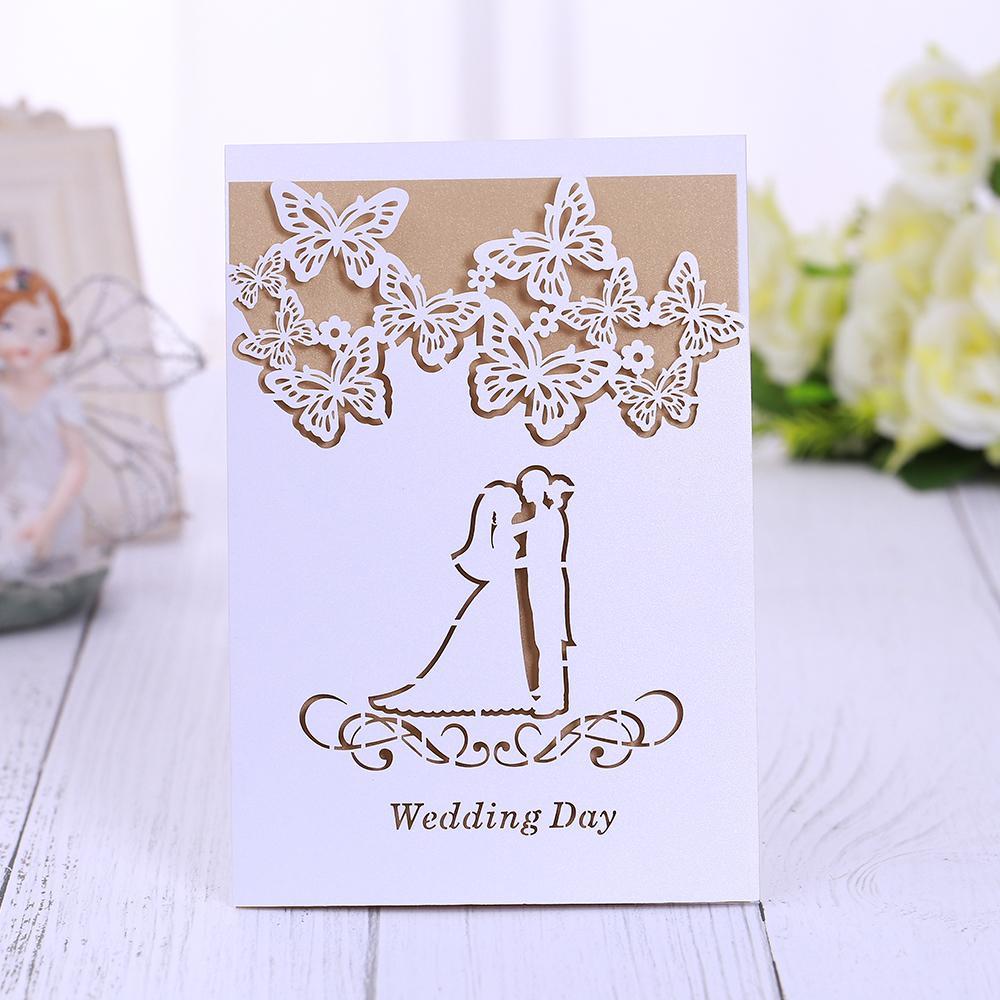 40 piezas por láser invitaciones de boda de lujo del cordón del banquete de boda de corte Tarjeta de Suministros SH190923 partido tarjetas Invitación de la tarjeta de cumpleaños