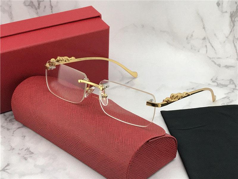 Luxo-2019 novo designer de vidros ópticos e óculos de sol 1984615 quadrado quadro sem aro transparente lente pernas animal simples Vintage clea estilo