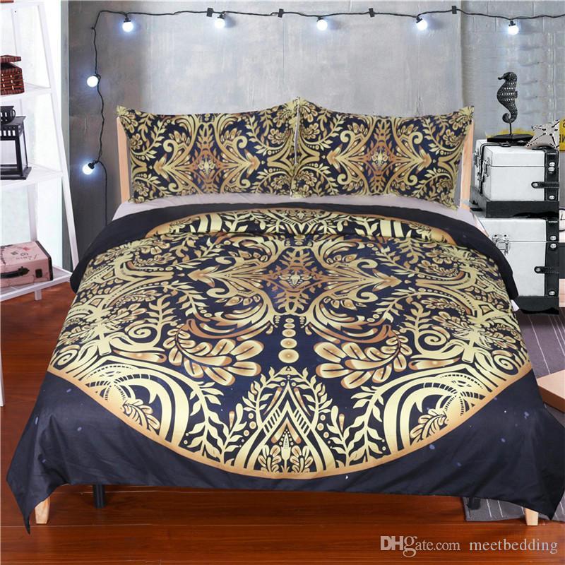 Mordern cama Set microfibra tecido com banhado a ouro Single King Duplo Tamanho 2 / 3pcs estilo edredon cobrir Set Chinese