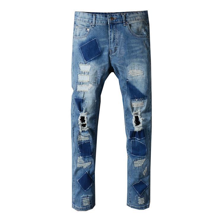 Diseñador de la marca de moda de moda agujero agujero pie parche bordado punk viento cultiva su moralidad pantalones vaqueros de los hombres marea masculina Gran