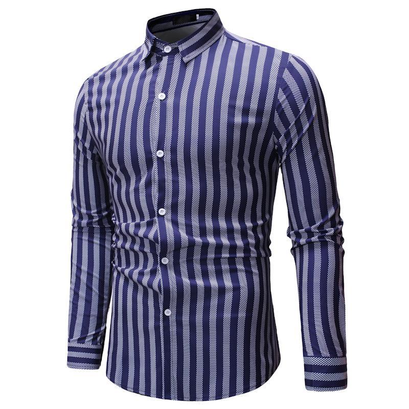 Compre Camisa De Vestir A Rayas Para Hombre De Alta Calidad Cómoda De Algodón De Manga Larga Slim Fit Elegante Informal Con Botones Camisa De Fiesta