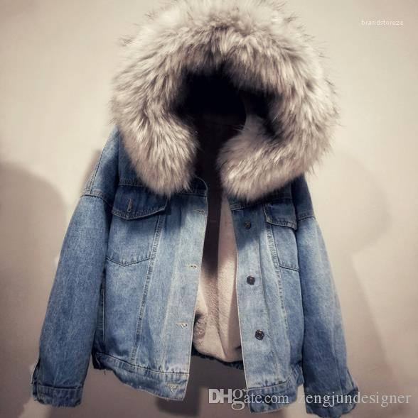 Hiver Designer Jeans Jackts Bouton manches longues Femme Vêtements Avec Chapeau Vêtements Casual Plus Femmes velours