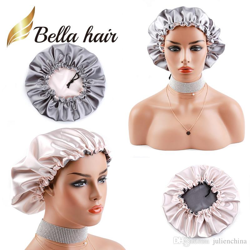 2019 New Arrival Double Side Satin Cap to Care Hair Pink/Grey Silk Night Sleep Cap for Women Girls Lady