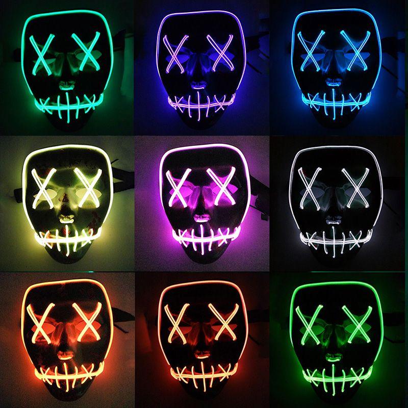Maschera a LED Maschera di Halloween Maschera Maschere per mascherata Maschera al neon Luce bagliore nel buio Mascara Maschera horror Maschera luminosa