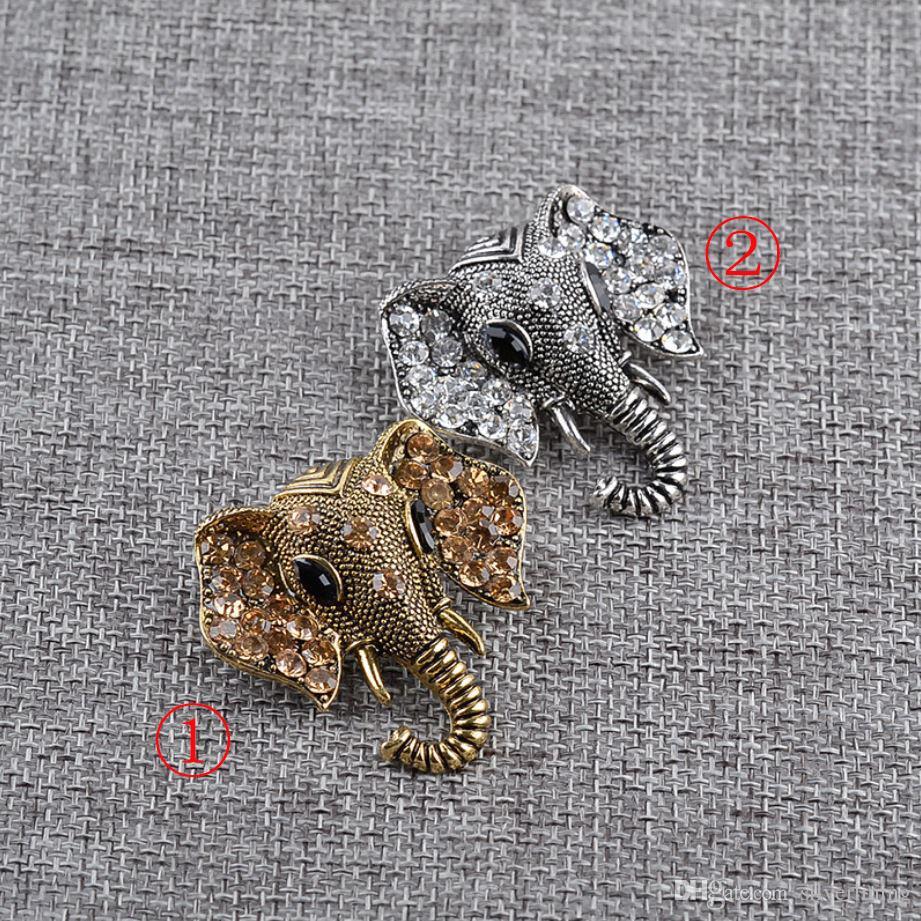 Cartoon émail Collier Pin Corsage Lapel Broche Zircon animal Belle alimentation végétale Elephant Cartoon coloré émail Broche en alliage