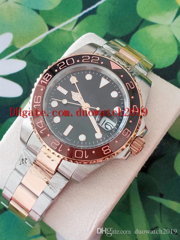 Venta de deportes para hombre de calidad superior 40 mm Venta de deportes para hombre Reloj de pulsera Cerámica Oro rosa Bisel Acero inoxidable 126711CHNR Movimiento GMT automático