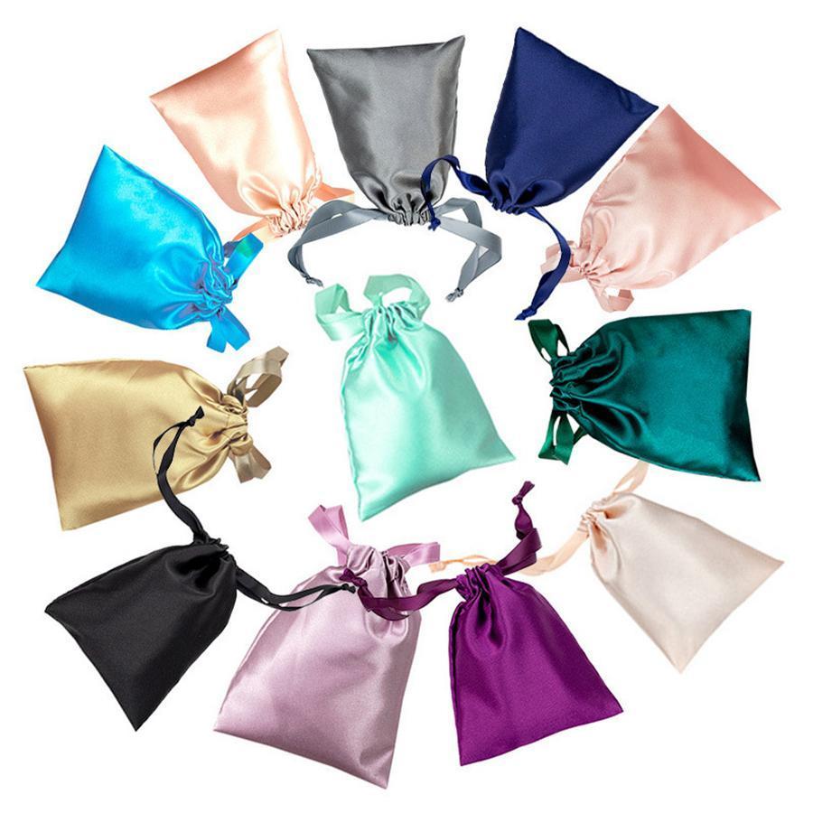 Сатин мешки Drawstring шелка ювелирных изделий Парики Косметика Упаковка Eye Mask чехлы саше ленты сумка 17,5 * 12см 12colors RRA2761
