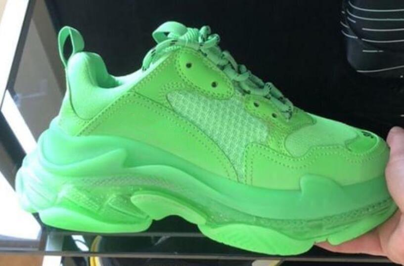 Зеленый трехместный с тапки мужчины флуоресцентный зеленый Повседневная обувь женщины низкая верхний шнуровка-вверх платформа обувь роскошные кожаные сетки очистить подошву туфли от N01