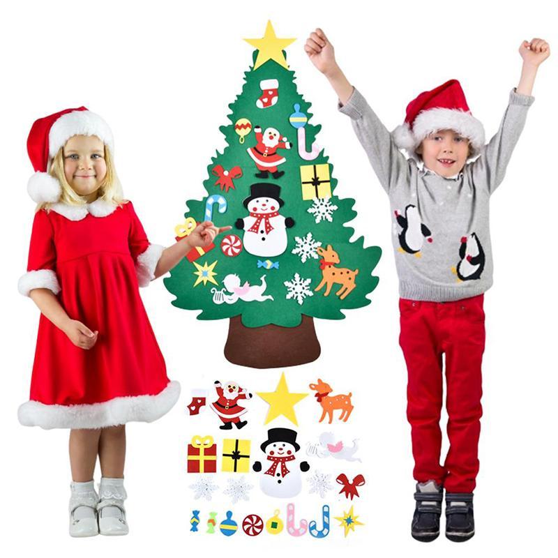 DIY Felt Weihnachtsbaumschmuck Anhänger Wandbehang Dekoration Aufkleber Weihnachtsdekorationen für Haus-Kind-Geschenk XNC