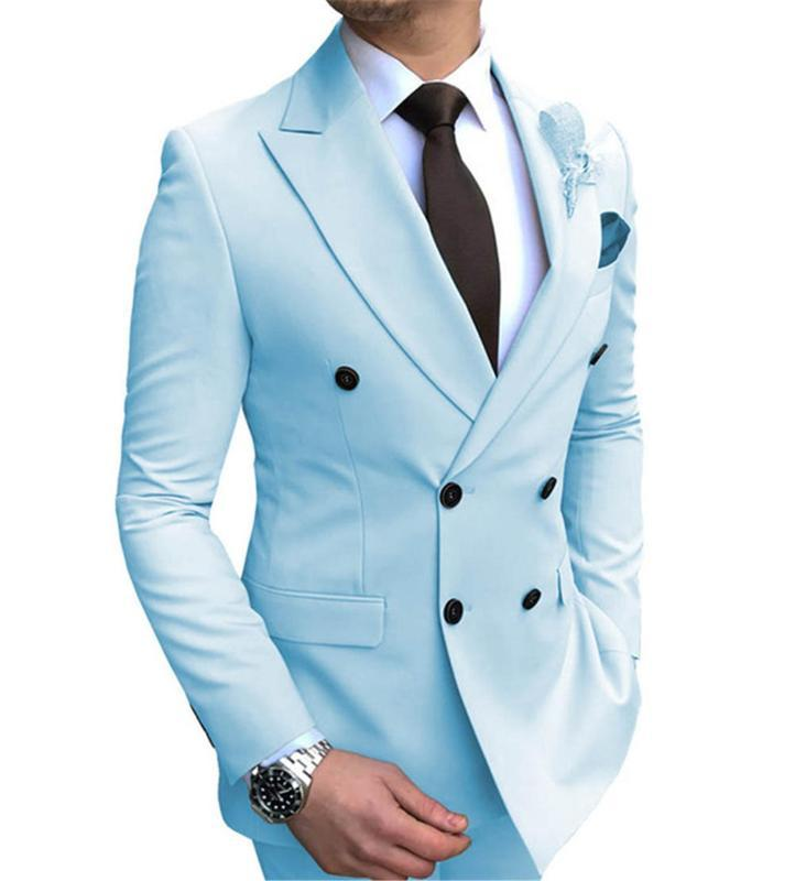 2020 Classic Costume Homme Terno Masculino Navy Blue Peaked Lapel Double Breasted Mens Suits 1 Piece Only Coat Without Pants