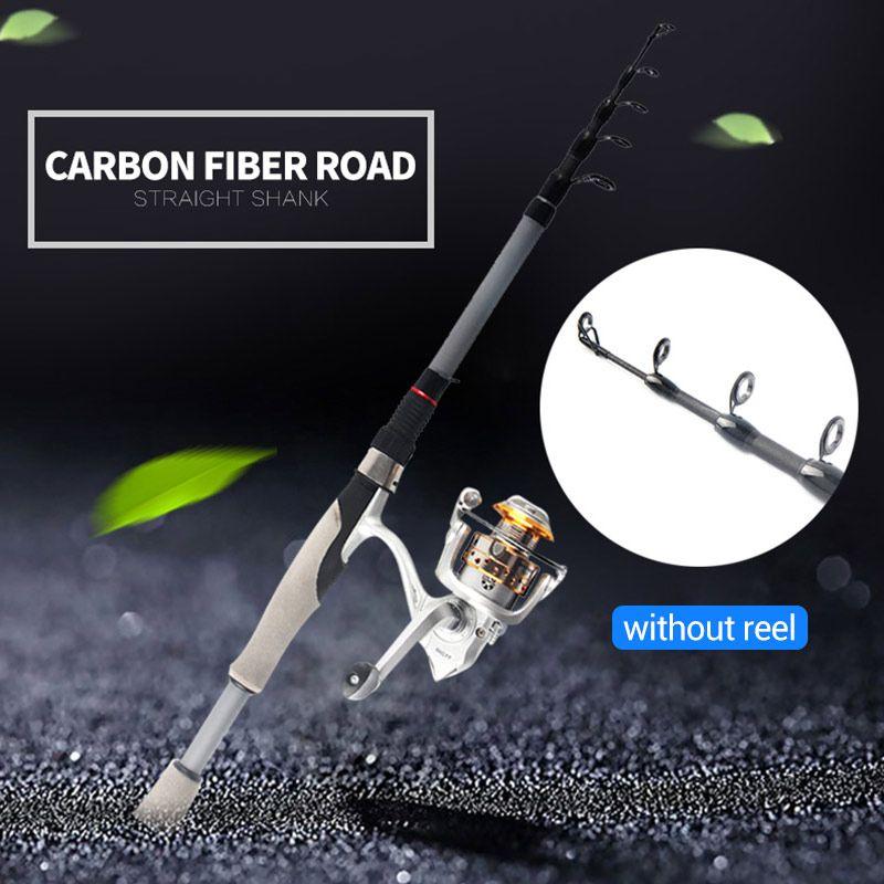 Canna da pesca telescopica Stagno Pesce canna da pesca in fibra di carbonio resistente Argento Outdoor pesca marittima