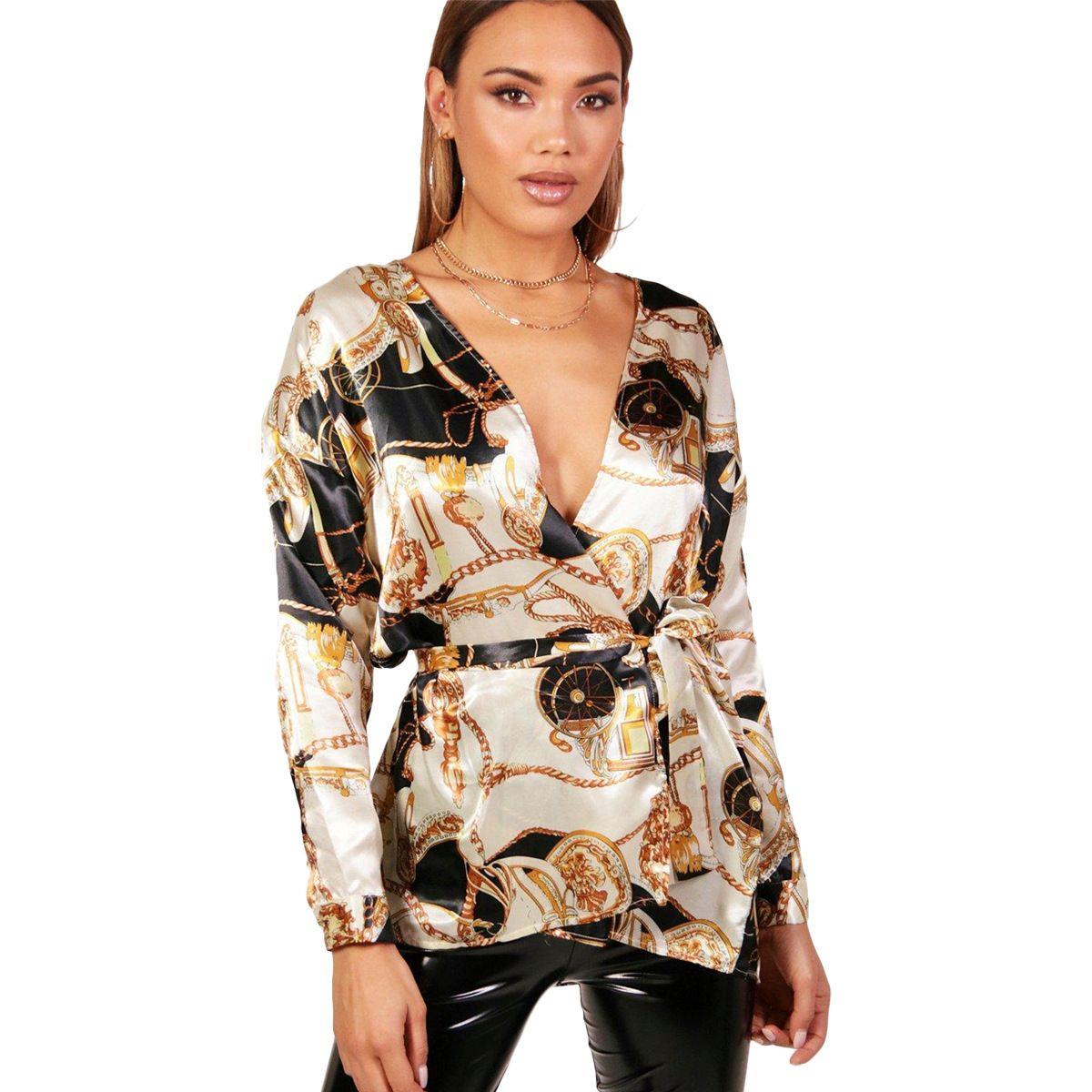Модные женщины V-образным вырезом блузки модные дизайнерские рубашки весной пояс дизайн элегантные верхушки с длинными рукавами