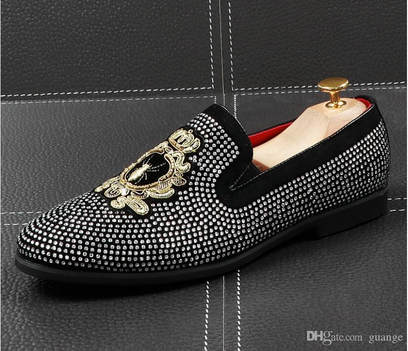 2020 NUEVA llegada hombres del diseñador marca de fábrica superior del brillo Zapatos de oro zapatos de vestir de los hombres mocasines plataforma pisos con lentejuelas de los holgazanes de los hombres 38-43