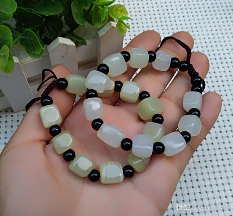 Natural jade bracelet Afghan white jade green jade small square bracelet will be opened gift supply