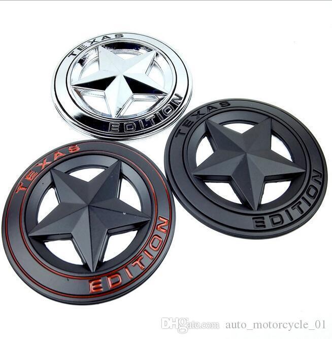 Metallo 3D TEXAS EDIZIONE Shield Pentagram Side Car Fender coda Badge Styling Sticker Jeep Wrangler EEA259 50pcs