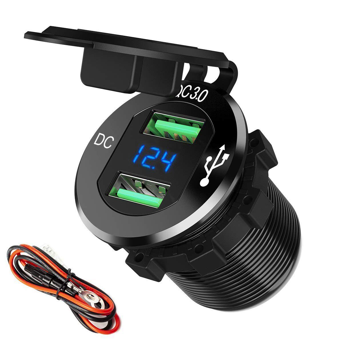 12V / 24V الألومنيوم للماء QC3.0 السريع المزدوج USB سيارة محول شاحن المخرج مقبس الطاقة مع LED الفولتميتر للالبحرية قارب للدراجات النارية شاحنة