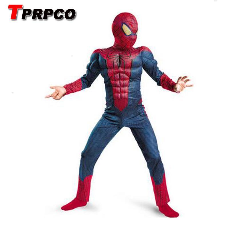 TPRPCO azul asombroso hombre araña chica traje de los niños muscular 3D Halloween trajes niños chicos al hijo varón máscara de araña cos NL1221MX190921