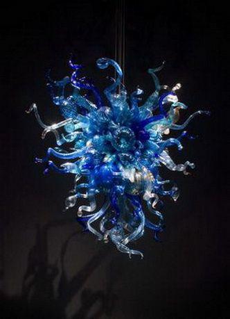 نوع معاصر يتوهم الديكور المنزلي البسيطة قلادة مصباح داخلي زهرة الثريا الإضاءة اللون الأزرق كيلي دايل