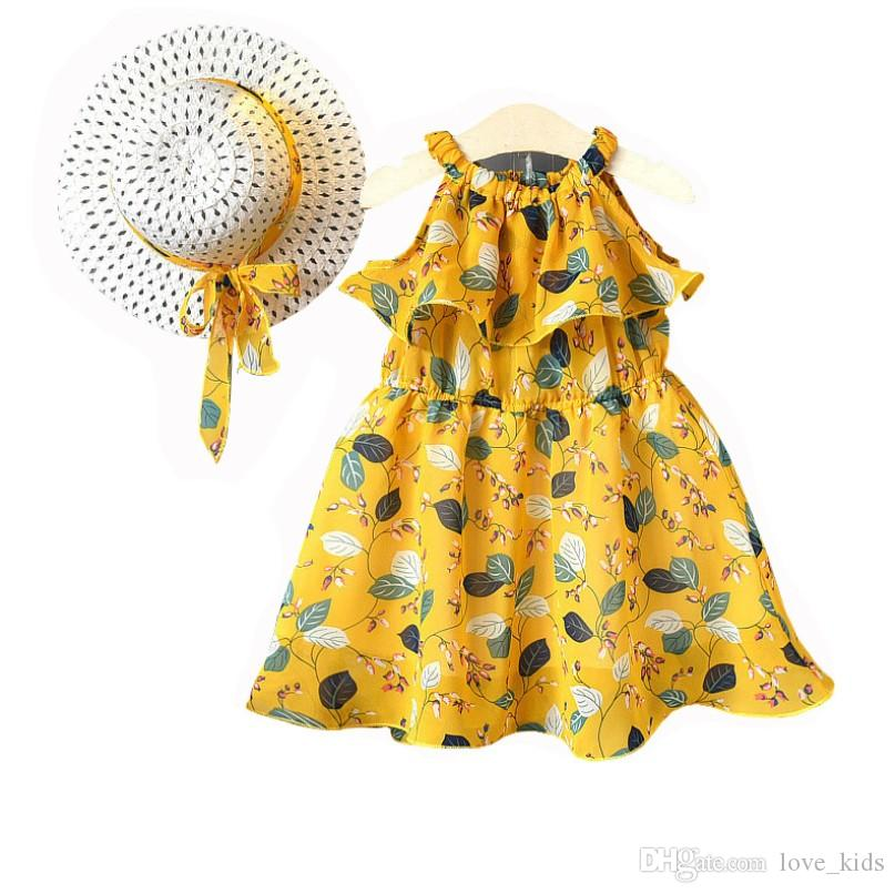 Baby girls suspender chiffon skirts with sunhats children summer beach dresses kids boutiques clothes 2 colors
