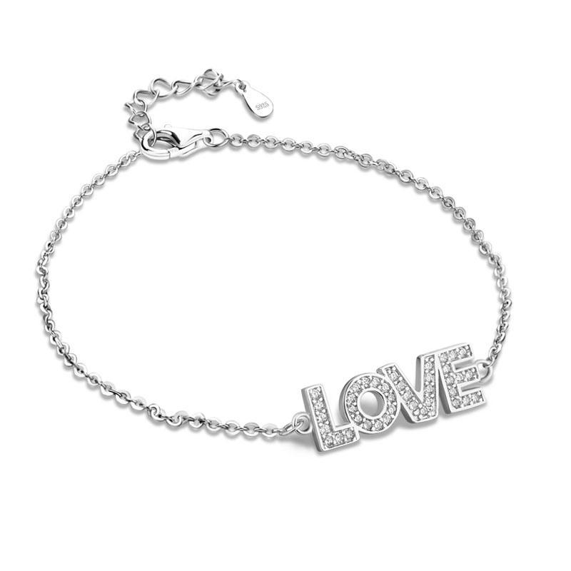 Argent massif 925 Femme chanceux Bijoux Belle bijoux bracelet Femmes Mode Argent présente main Caténaire