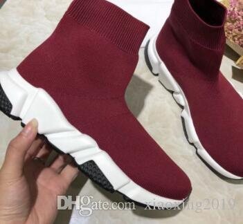 Genuine Leather Designer Sock Shoes High Quality Speed Trainer Sneakers Men Women Trainers Stretch-knit Mid Sneakers Trainer size