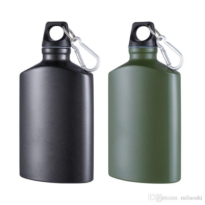 Sports Water Bottle Lightweight Aluminum Flask Outdoor Gadgets Leak-proof camping water bottle Canteen Oval Kettle 500ml