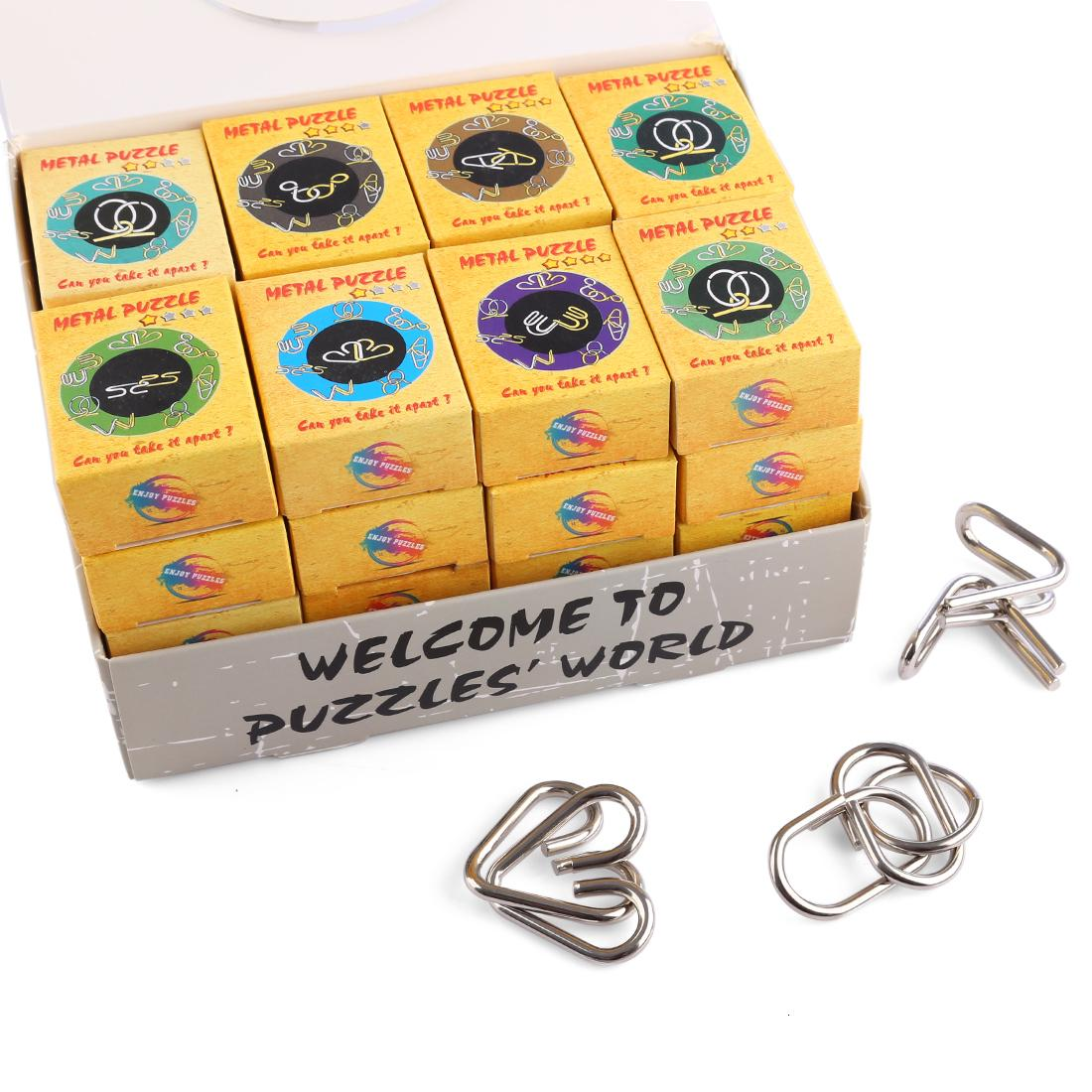 32 Pcs Clássico Inteligente Montessori Quebra-cabeças de Arame De Metal Quebra-cabeças Anéis Mágicos Anéis Jogo Brinquedos para Crianças Adultos Presentes Dos Miúdos SH190911