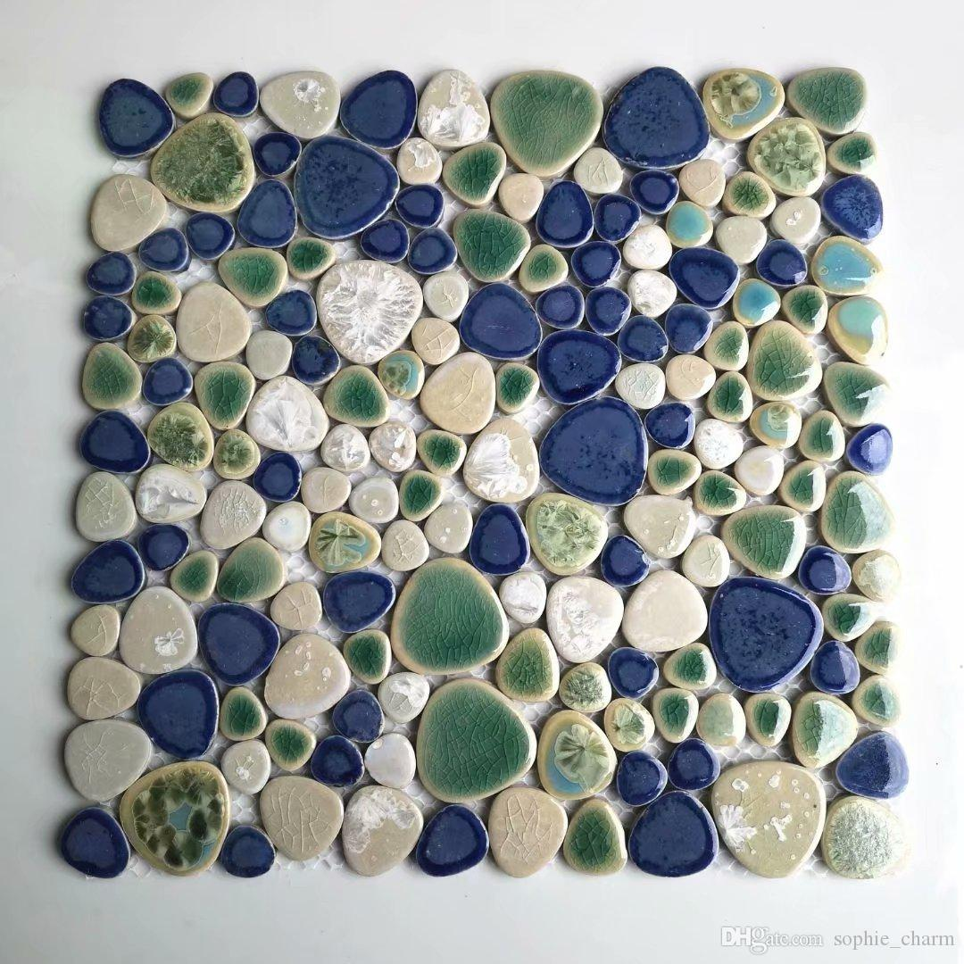 - 2020 Glazed White Green Blue Pebble Porcelain Ceramic Mosaic