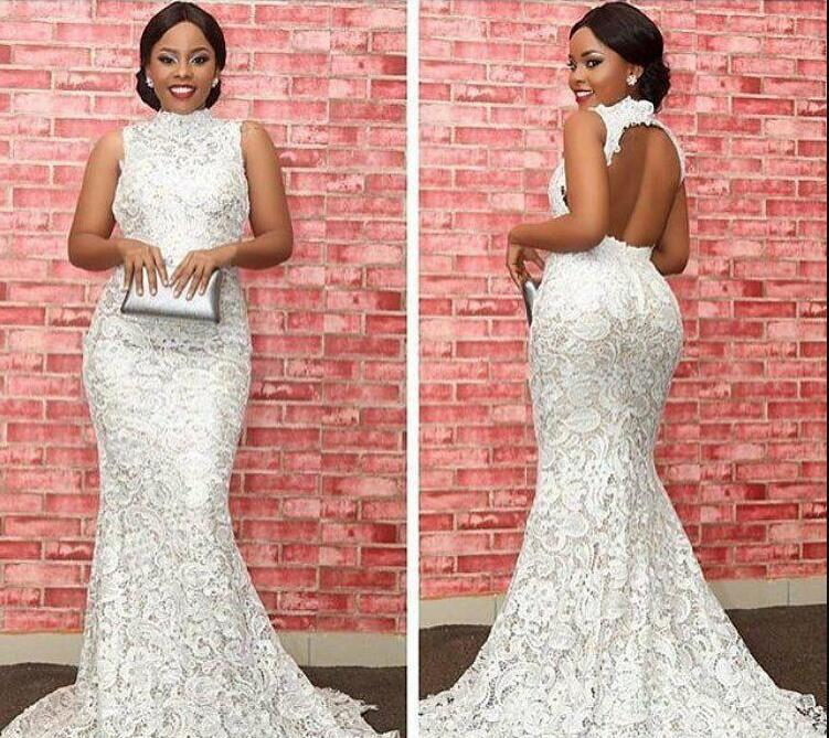 2018 Cheap Backless White Lace wedding Dresses Arabic Dubai High Neck Celebrity Formal Holiday Wear Party Gown Custom Made Plus Size