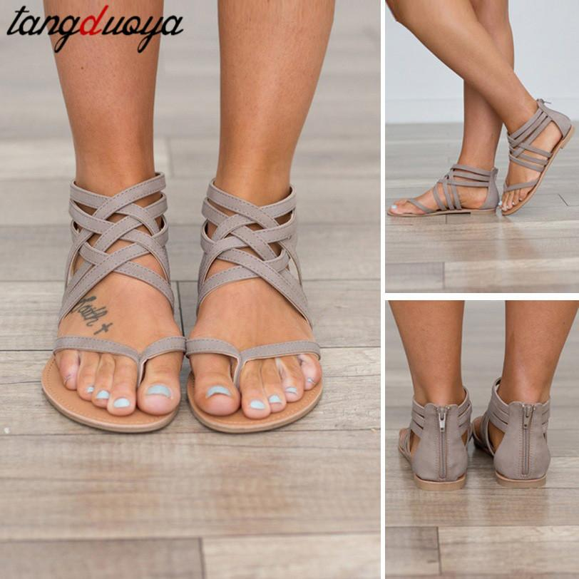 ladies flip flops women summer shoes flat beach sandals casual woman flat shoes for ladies sandals ankle strap 42 43