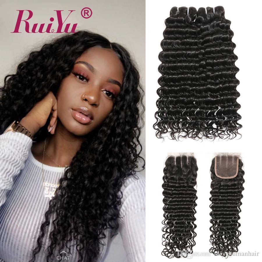 Virgin estensioni dei capelli Ruiyu riccio crespo onda profonda Bundle con chiusura dei capelli tessuto brasiliano 3 pacchi con chiusura Lordo umani di Remy