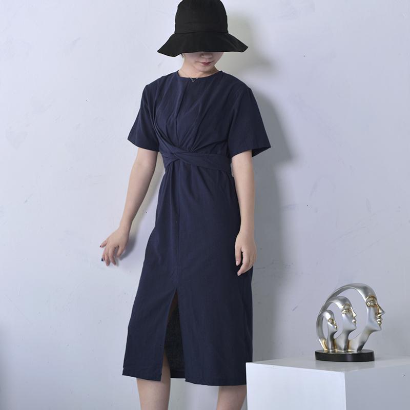 Vêtements femme femmes robe d'été 2019 nouvelle couleur solide en vrac col rond naturel taille de Split La Fourche Mode E4100 Vêtements Designer