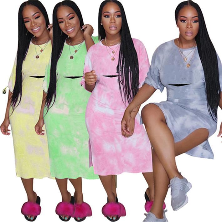 para mujer del diseñador vestido de una pieza del vestido de la falda del verano de manga corta mini-vestidos de alta calidad vestido delgado elegante de lujo clubwear klw3613