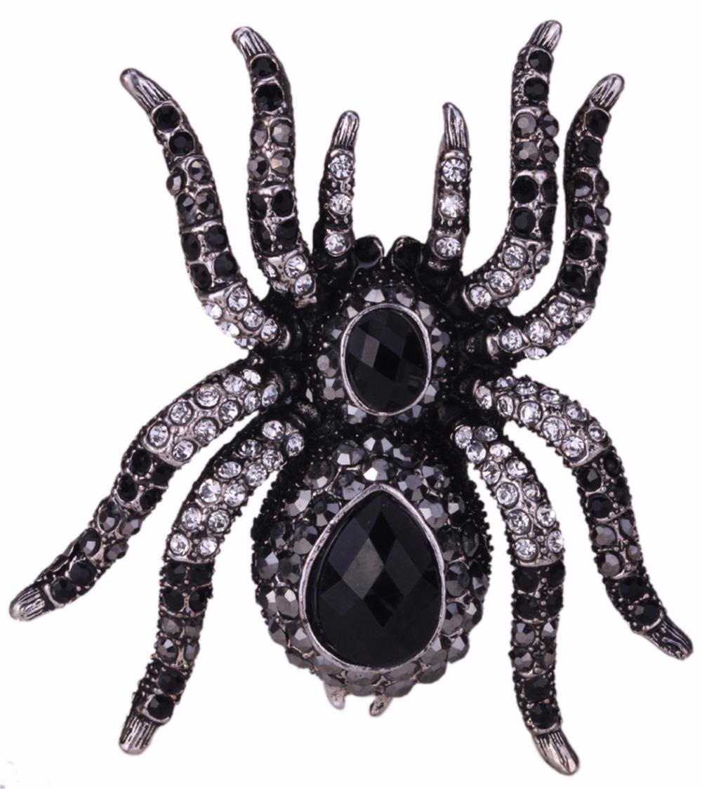 YACQ Spider Stretch Ring Scarf Clasp Halloween Party Gothic Jewelry Gifts Charms Women Girls Antique Silver Black Dropshipping