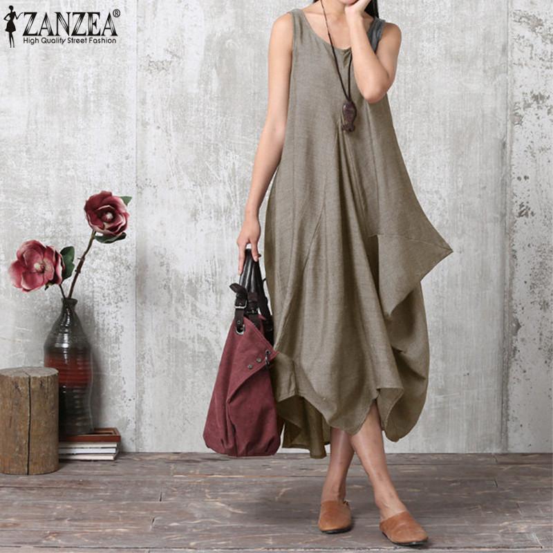 Zanzea Maxi Dress Women Long Dress 2019 Summer Lady Casual Sleeveless Irregular Hem Vestidos Robe Femme Plus Size Party Sundress Y19050805