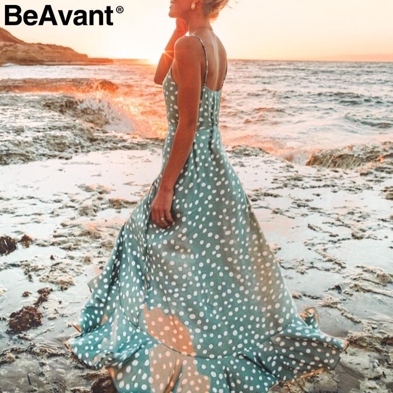 BeAvant Bohême sexy v-cou dot femmes maxi robe imprimé robe de bouton de spaghetti élégante plage d'été longue robe femme