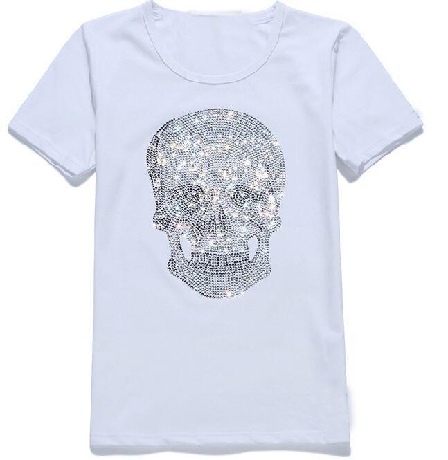 Hommes Femmes Streetwear été T-shirts Mastermind diamant brille strass T-shirts Crânes motif ras du cou à manches courtes T-shirts
