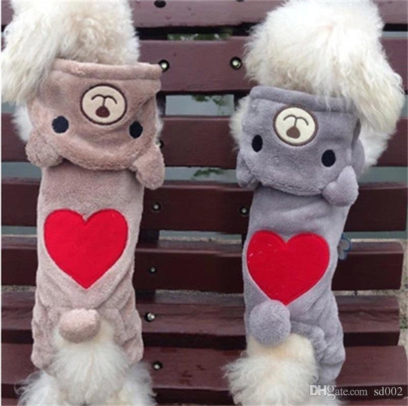 الدب كلب الملابس الحب القلب الخريف والشتاء سميكة معطف دافئ شعر القط الكرتون ملصقات الملاحق 13YF UU