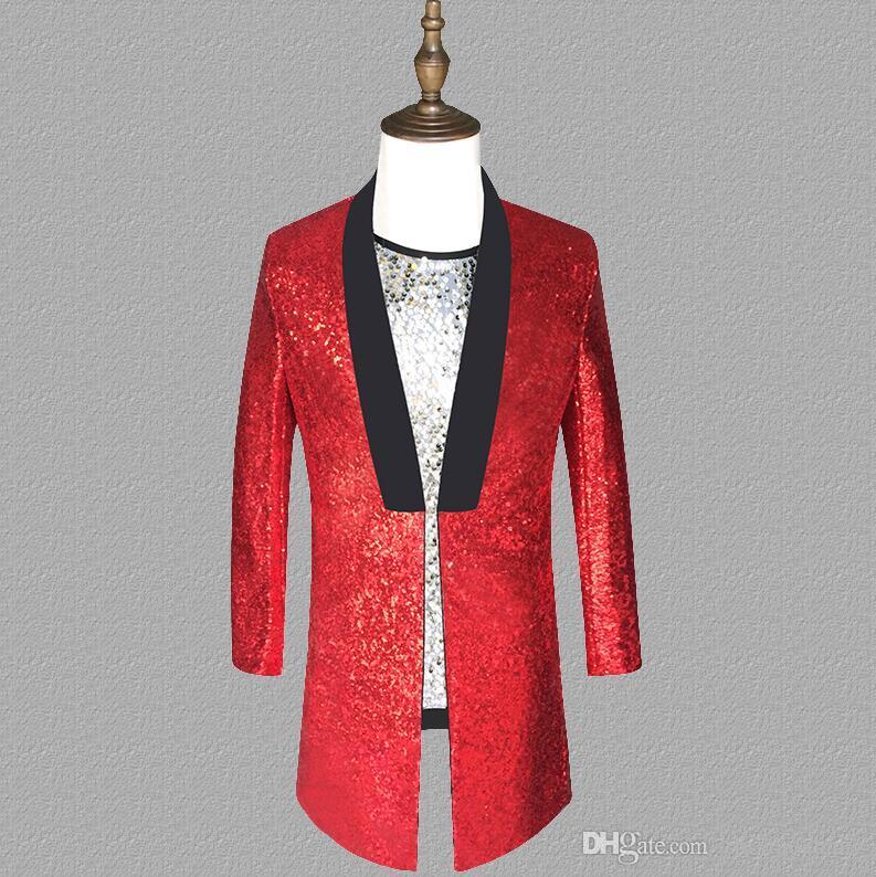 Красные блестки блейзер мужчины длинные костюмы дизайн куртка мужские сценические костюмы для певцов одежда танец звезда стиль платье панк мужское начало