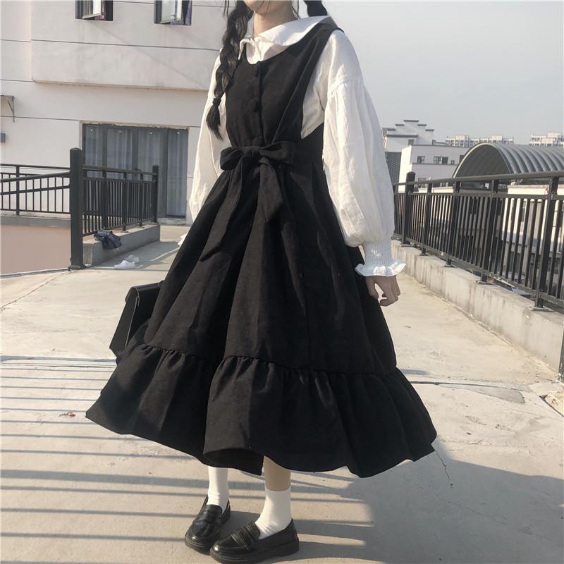 ملابس مدرسية نسائية ترتدي زي لاليتا ياباني عام 2020 الأخت كاواي ضمادة قوس فستان أسود طويل مع بطانة